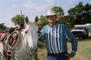 John Erickson with his horse, Nocona.