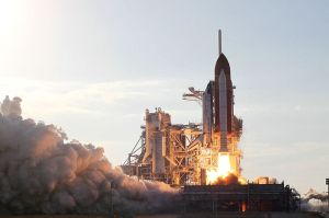 Discovery leaves the launch for the 39th and final time. February 24, 2011. Photo by NASA.