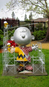 Charlie Brown in the garden of the Charles M. Schulz Museum and Research Center.