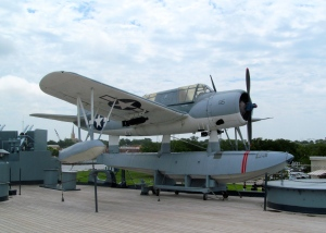 This Kingfisher Scout Plane would be catapulted from the deck. On its return, the plane would land in the water alongside the battleship and a crane would lift the plane out of the water.