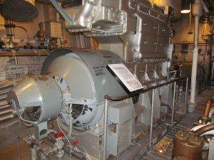 Temperatures in the Engine Room could reach 135 degrees and men would serve here for up to 72 hours at a time. Their shoes would fill with water (sweat) and some would be overcome by the heat.