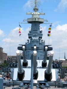 The battleship has about 15,000 tons of steel armor plate that makes up about 42 percent of her weight. The ship could carry almost two million gallons of fuel oil and averaged 166 gallons per mile. The ship moved 32 feet per gallon.