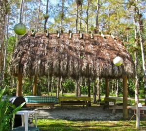 The chickee hut that sits just outside our door.