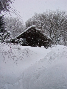 Our old barn in snow