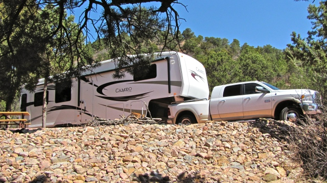 How we roll. Mountaindale Campground, Colorado Springs, Colorado.